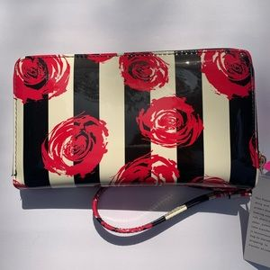 NWT. Betsey Johnson wallet stripes & red roses